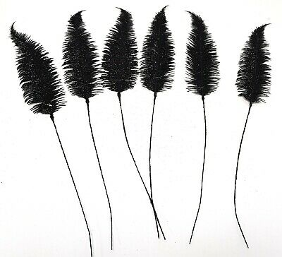 Pack of 6 Black Glitter Feather Stems - 61cm - Christmas Decoration - Clearance