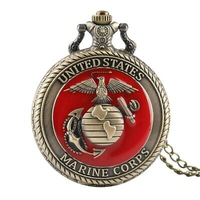 2019 United States MARINE CORPS Pocket Watches Men Vintage Style Watch Necklace