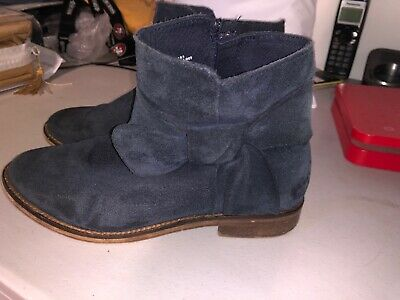 ZARA GIRLS Blue Suede Leather Ankle Boots Womens Size 35 EUR 4.5 US