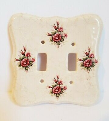 Vintage VB Athena USA Porcelain Double Light Switch Plate Cover