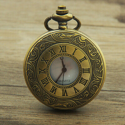 Vintage Hollow Round Dial Double Display Quartz Pocket Watch with Chain Props