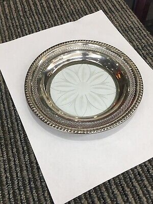 """Antique Heavily Pierced Sterling Silver Cut Crystal Glass 7"""" Raised Candy Dish"""