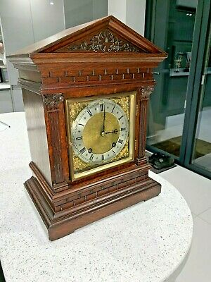 Oak Antique Mantle Clock 8 Day 2 Train