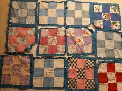 Vintage Quilt Blocks, Old, Sewing, Quilting Handsewn