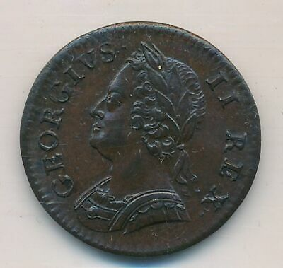 Great Britain George II 1754 Farthing .Sear 3722 Magnificent Patina. Brown Unc