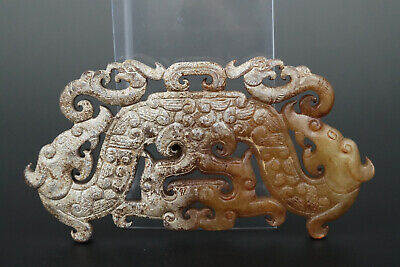 One Fine Chinese Ancient Han Jade Carving Dragon And Phoenix Pendants 0054