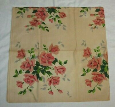 """Vintage WILENDUR w/Tag Cream with Pink Rose Floral Cotton Tablecloth 54"""" x 54"""""""