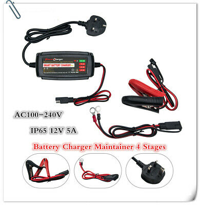 Automatic Electronic Car Battery Charger 5A Fast/Trickle/Pulse Modes 5AMP 5Stage