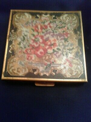 VINTAGE BRASS Volupte USA Mirrored Compact Etched Brass Embossed on FRONT & BACK
