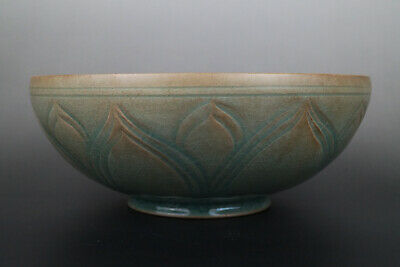 One Fine Chinese Ancient Ru Kiln Porcelain Carving Lotus Flower  Bowls 11thC AD
