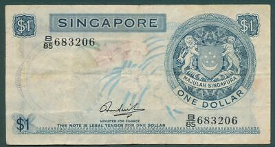 Singapore (1967) 1 Dollar P-1a Error Printing Missing Colour on Orchid RARE