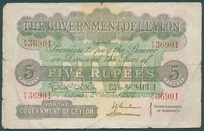 Ceylon 1939 KGVI 5 Rupees P-23c Average Circulated with minor faults