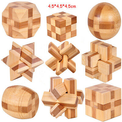Funny Children/Adults IQ Brain Teaser Cube Wooden Puzzle Educational Game Toy