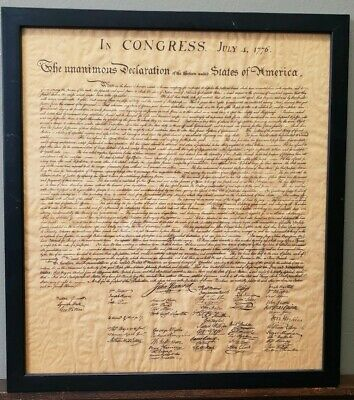 "Declaration of Independence In CONGRESS July 4 1776 Framed Vintage Copy 16""Hx15W"