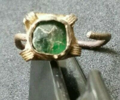 Authentic Ancient Late Byzantine Or Ottoman Ring Artifact Antique Green Bead
