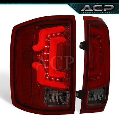 For 14 15 16 17 18 Silverado Smoke Red Lens LED Tube Tail Lights Lamps Upgrade