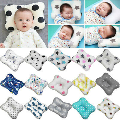 Baby Infant Newborn Pillow Flat Head Neck Sleeping Support Cotton Square Pillows
