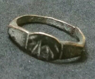 Authentic Ancient Bronze Roman or Byzantine Ring Artifact Antiquity RARE SHAPE