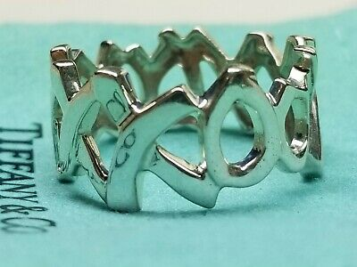 Tiffany & Co. Silver Paloma Picasso XO XOXO XOX Love Kisses Hugs Ring SZ 11