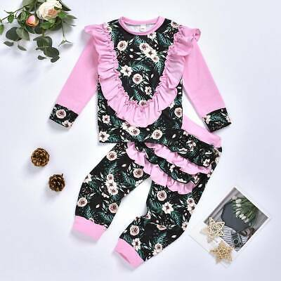 Casual Toddler Kids Baby Girls Floral Ruffle Tops Pants Tracksuit Outfits Set