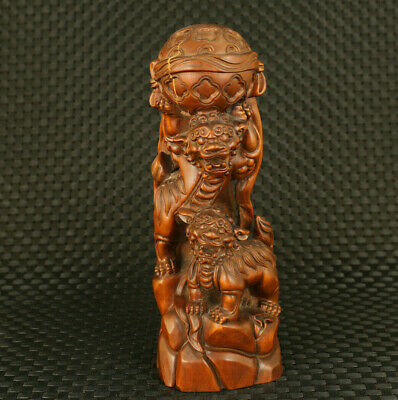 Chinese old boxwood hand carved two lion statue table home exquisite decoration