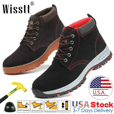 Safetoe Safety Work Boots Mens Steel Toe Leather Indestructible Outdoor Hiker US
