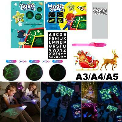 Light Up Magic Drawing Fluorescent Writing Board Pad Kid Fun Developing Xmas Toy