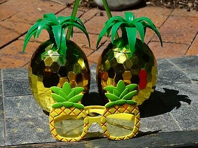 Pair of Pina Colada Pineapple cups with straws & similar Party Glasses