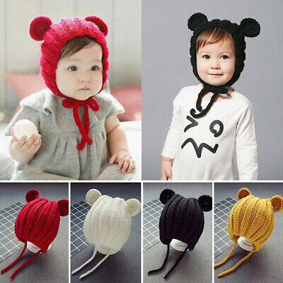 Solid Color Unisex Baby Knitted Ear Cover Cap Earmuff Strap Hat Beanie Cotton