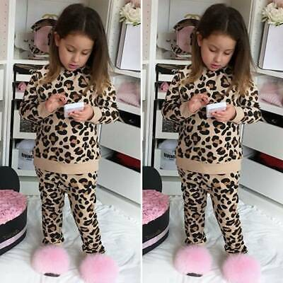 Casual Toddler Baby Kids Girls Fur Leopard Print Tops Pants Outfits Set Clothes