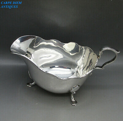 VINTAGE GOOD LARGE SOLID STERLING SILVER SAUCE BOAT 230g F.COBB SHEFFIELD 1938