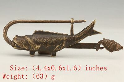 Antique Chinese Bronze Statue Lock Animal Fish Mascot Home Decoration Gift Colle