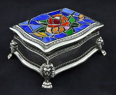 Stunning Embossed Stained Glass Floral Detail Jewellery Trinket Box Silver Plate