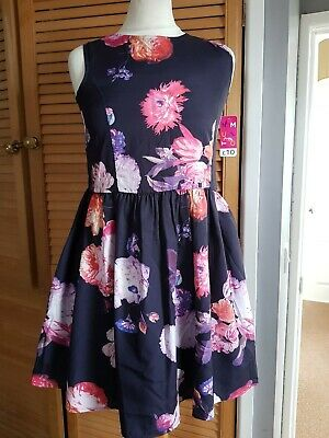Nutmeg Navy Autumn Multi  Floral Frill Dess Age 12/13  Years BNWT RRP £10