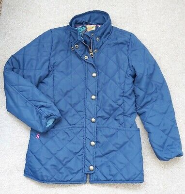 JOULES Girls navy blue quilted jacket coat age 9-10 years floral print lining
