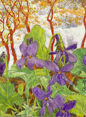 """""""YEARLY SALE"""" ACEO """"Violets"""" Original Collage Painting, By Hélène Howse"""