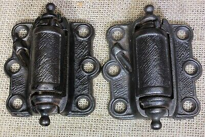 2 old Screen Door Hinges vintage 1890's strong self closing springs cast iron
