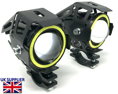 Motorbike Projector LED Spotlights + White Halo Rings Adventure Bikes 15W 3800LM