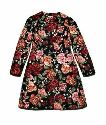 £329 Monnalisa Girls Navy Red Rose Floral Print Frock Coat age 8 Wedding Guest