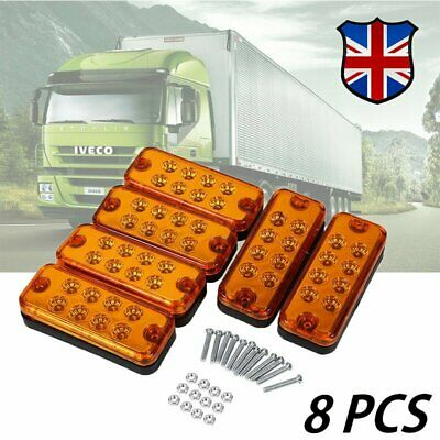 8x Orange Marker Side Led Trailer Truck Lorry Recovery Position Lights Lamps 12v
