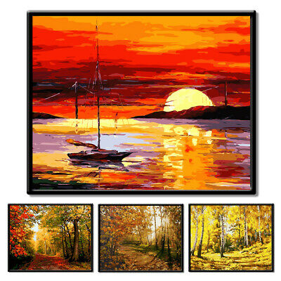 Frameless Landscape Diy Painting By Numbers Hand-Painted Wall Art Decor Nice
