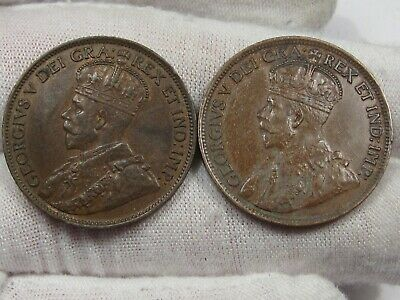 2 XF w/ Full Crown Canadian Large Cent: 1914 & 1915.  #22