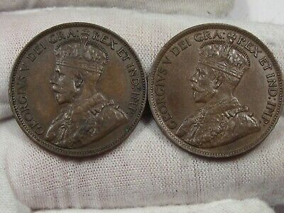 2 XF w/ Full Crown Canadian Large Cent: 1918 & 1920.  #25