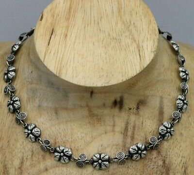 Vtg Mexico Sterling Silver Art Deco Floral Repousse Link Necklace 16 Inch TAXCO