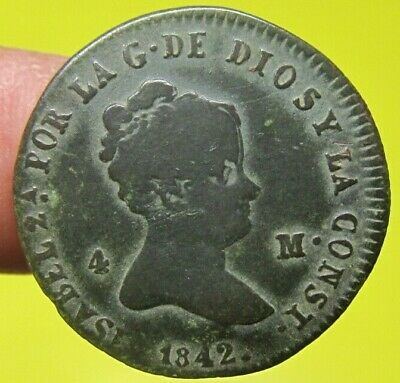 awesome 1842 PIRATE COBS SPANISH 4 Maravedis Colonial Coin Isabel ELIZABETH  II