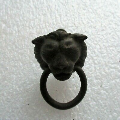 Vintage Cast Iron Lion Face Drop Ring Pull Drawer Pull