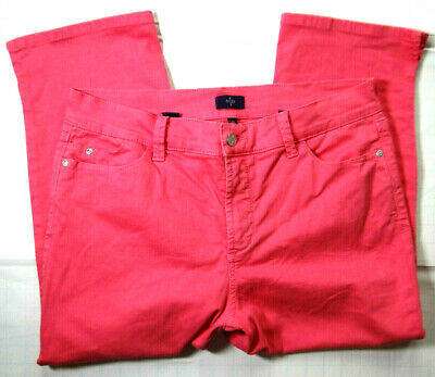 NYDJ Cropped Pants Women's 12 Coral Pink Lift Tuck Mid-Rise M77N71DT Stretch_208