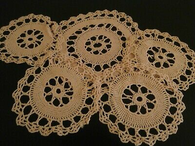 Five Vintage Pink Silky Cotton Hand Worked Crochet Lace Mats/Doilies