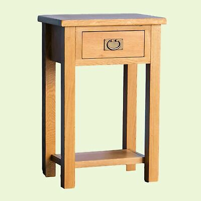 Rustic Oak Telephone Table Console Hall Wood Side Drawer Hallway End Stand Lamp