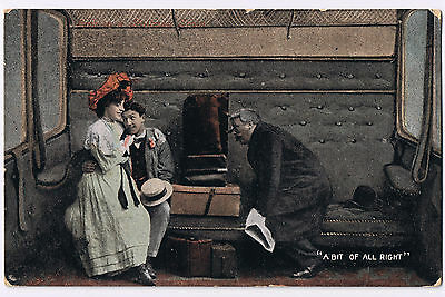 Novelty Postcard 1908 - 'A BIT OF ALL RIGHT' with Edward VII Halfpenny Stamp